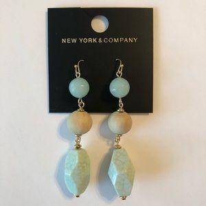 New York & Company Earrings Wood and Aqua Drop